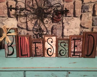 personalized made to order blessed wood block set decoration