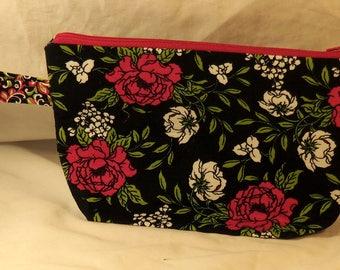 Medium Standup Floral Roses Cloth Makeup Bag Makeup Case Black Fucshia Green White Sturdy Handle