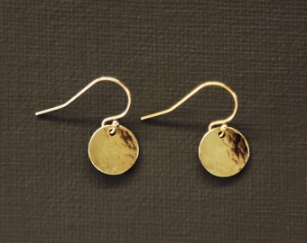 Tiny Gold Hammered Disc Earrings - Simple Everyday Earrings