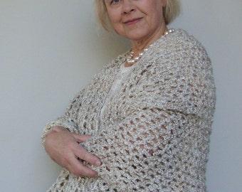 Grandma Gift, Crochet Shawl, Gray Shawl, Grey Shawl, Crocheted Shawl, Wraps Shawls, Evening Shawl, Pearl Gray Shawl, Shawl Crochet, Mom Gift