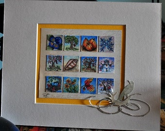 Group of Inchies, one inch squares, twelve squares of the seasons, fall, summer, winter and spring, mounted and matted in an 8 x 10 inch mat