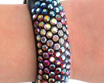 Mod Retro Rainbow Rhinestone Bangle Bracelet