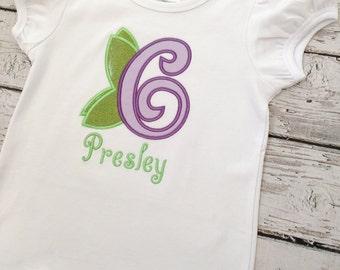 Fairy birthday shirt - Fairy Birthday outfit - girls birthday shirt - personalized birthday shirt - fairy birthday party - monogrammed
