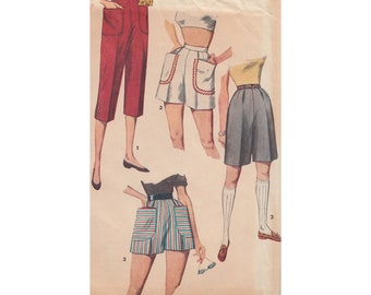 Vintage Sewing Pattern Misses' Pedal Pushers and Shorts in 2 Lengths Simplicity 4680 Waist 26 High Waist/Patch Pockets/Back Zipper/Bermuda