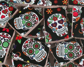 Ceramic Mosaic Tiles - Sugar Skulls Flowers Bright Colors Mosaic Tile Pieces - 28 Pieces - For Mosaic Art / Mixed Media Art/Jewelry