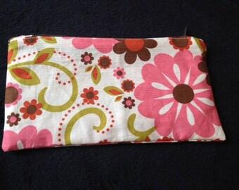 Trousse en coton motifs fleurs et rayures