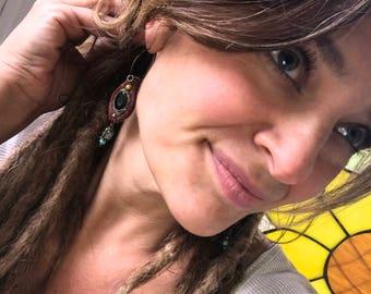 clay EARRINGS,dangle earrings, beaded earrings,hippie earrings,folk earrings,zen earrings, funky earrings, glass  earrings Zasra