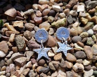 Fine Silver Star dropper Earrings