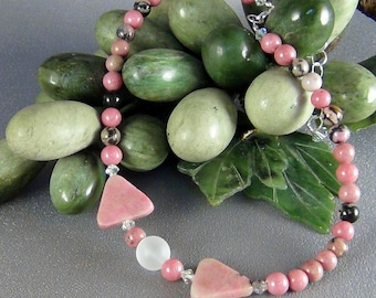 """Children's Necklace  - Rhodonite, Frosted Glass, Swarovski Crystal - 12 + 2"""" - Hand Crafted Artisan Jewelry"""