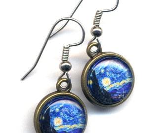 Starry Night Earrings , Surgical Steel Earrings, Surgical Steel Blue Earrings, Van Gogh Earrings, Fine Art Earrings, Short Van Gogh earrings