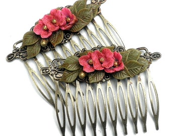 Pink and Gold Posey Hair Combs