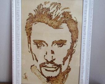 """Johnny Halliday"" pyrography on wood frame white wood"