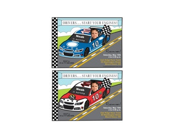 Race Car Invitatio, Custom Photo Invitation, Photo Invitation, Nascar Invitation, Birthday Race Car Invitation, Race Car Theme Birthday,