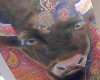 greeting card colorful buffalo spirited zentangle blank card