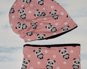 Pink Slouch Beanie Hat and Scarf Set Baby Girl Panda Kawaii Slouchy Beanie Infinity Scarf Slouchy Hat Scarves