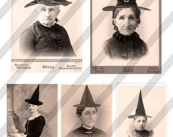 Digital Collage Sheet Halloween Witches No. 2  (Sheet no. H23) Instant Download