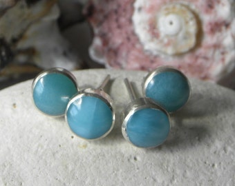 Larimar Earrings Handmade Dominican Blue Larimar Gemstone Earrings 8mm Stud Earrings Sterling Silver Earrings Blue Larimar Jewelry Earrings