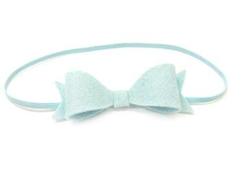 Pale Blue Felt Bow Headband, Newborn Baby Headband 85 colors, Skinny Elastic Headband, Ice Blue Felt Headband for Baby, Glacier Blue