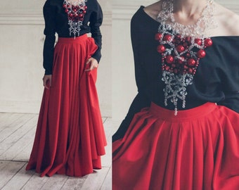 Red Pleated Full Circle Skirt Woman Maxi Skirt