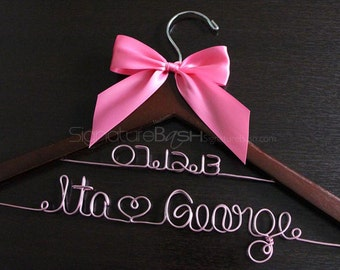 Bridal Hanger with Color Wire / Wedding Hangers / Custom Bridal Hangers / Personalized Wedding Hangers