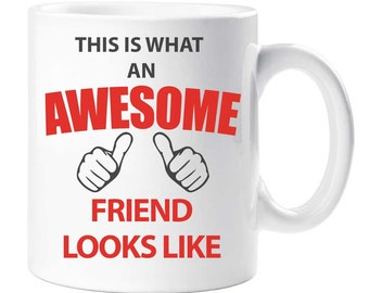 Friend Mug This is What an Awesome Friend Looks like Ceramic Novelty Fathers Day Present Gift Cup Present