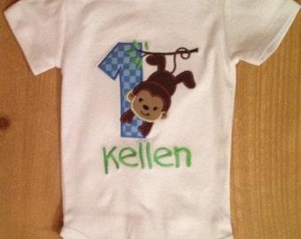 Blue and Green Monkey Birthday Shirt or Baby Bodysuit