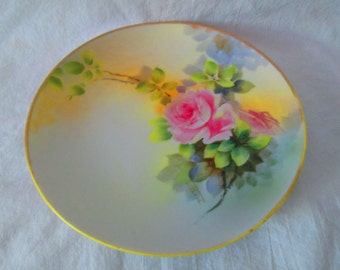 Beautiful Hand Painted Rose Plate Nippon Japan Porcelain