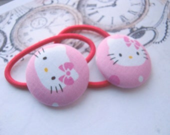 Hello Kitty with Bow Pink Kawaii Button Fabric Girly Hair Elastic Hair Ties-Gift