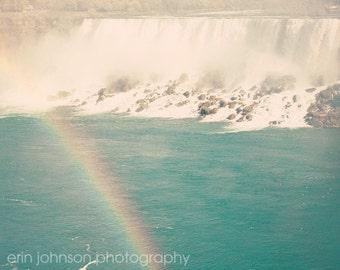 niagara falls photography, ontario canada, rainbow art, blue home decor, waterfall photography, Rainbow over American Falls