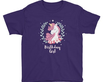 Birthday Girl Shirt Cute Unicorn Birthday tee Shirt for Girls Gift for daughter, niece, little sister who loves unicorns B-day party Gift