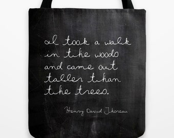 Thoreau Quote 18 x 18 Tote Bag, Literary Quotes Canvas Tote Bag, Market Bag, Book Bag, Literary Gifts, Gifts for Book Lovers