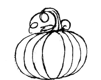 classic pumpkin-MEDIUM Red Rubber Stamp-Original design 00637, halloween rubber stamp, pumpkin rubber stamp, thanksgiving stamp, fall stamp
