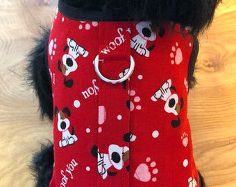 I woof you Valentine print Small Dog Harness, dog harnesses, pet clothing, Made in USA