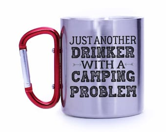 Funny Camping Gift,Camp mug,Drinking camp mug,Outdoor lover gift,Camping gear,Carabiner mug,Gift for him,Gift for her,Camper_CCM104