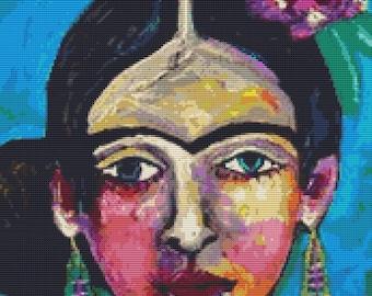 Modern Cross Stitch Kit 'Frida Kahlo' By Heather Galler - Mexican Folk Art