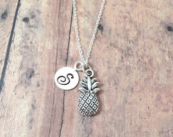 Pineapple initial necklace - pineapple jewelry, fruit necklace, silver pineapple pendant, fruit jewelry, food necklace, hostess gift