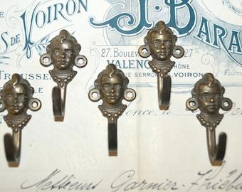 Antique French Petite Bronze Hook Figural Childs Head Vintage Hardware