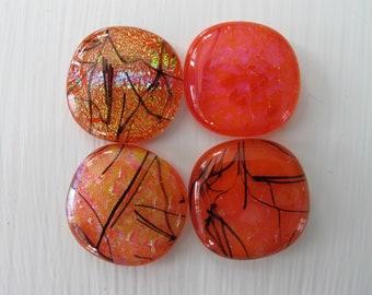 Four Red-Orange Freeform Dichroic Glass Cabochons