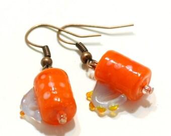 Orange Coffee Mug Glass Lampwork Bead Earring - Hot Chocolate Cappuccino Cup Earrings - Teacher gifts