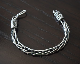 Mens .925 Sterling Silver Heavy Rope Bracelet Bali clasp handmade.