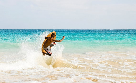 Surfing Prints, Jumping Skimboarder,Cape Verde Islands,Travel pictures,limited edition print,photographic print