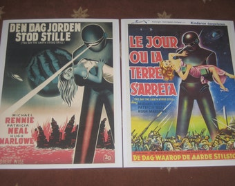 The Day the Earth Stood Still - French and German repro posters classic vintage scifi poster