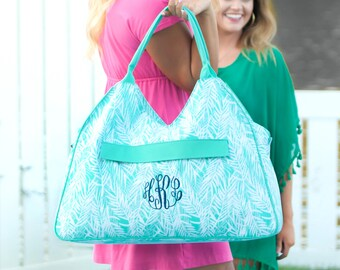Monogram Large Beach Bag, Personalized Large Beach Bag, Large Beach Bag, Large Beach Tote, Monogram Beach Bag, Mint Beach Bag, Beach Bag