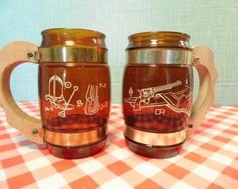 Vintage Siesta Ware Western Glass Mugs - Set Of 2 - 12 oz  - Barrel Shape - Cowboy - Western Gun