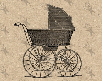 Vintage image Baby Carriage buggy pram Antique picture Instant Download printable clipart digital graphic transfers burlap iron on HQ 300dpi