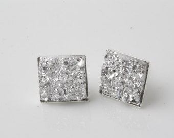 Silver druzy earrings, square druzy stud earrings, faux druzy earrings, druzy studs, square earrings, druzy post, silver sparkly earrings
