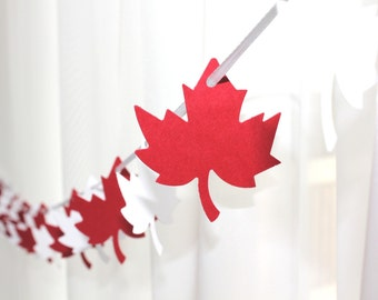 """6 Foot - 2"""" Maple Leaf Red and White Garland  -  Party Banner Garland perfect for Parties, Bridal or Baby Showers"""