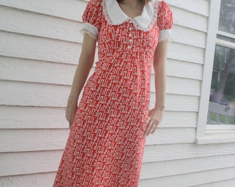 Red Maxi Dress Chess Alice Vintage 70s Dolly White Lace Collar XS S