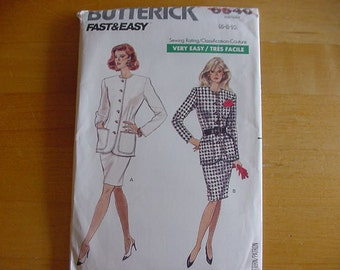 Vintage 1980s Butterick Pattern 6540, Misses Semi Fitted Top, Straight Skirt, Misses Multi Size 6-10, Bust 30 1/2 - 32 1/2, Uncut