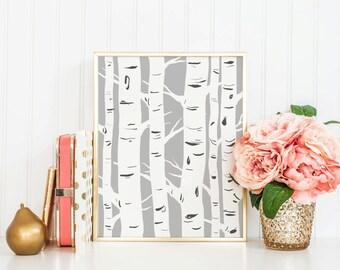 BIRCHES in GRAY - Instant Download - 8x10 - 11x14 -  Printable Art - Scandinavian - Gray - Trees - Minimalist - Wall Art - Home Decor